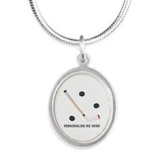 Personalized Hockey Silver Oval Necklace