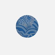Blue Art Deco Style Pattern. Mini Button