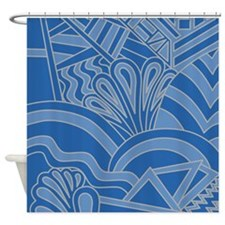 Blue Art Deco Style Pattern. Shower Curtain
