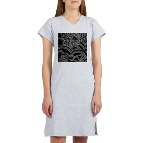 Black Art Deco Style Pattern. Women's Nightshirt