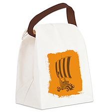 Orange and Brown Viking Design. Canvas Lunch Bag