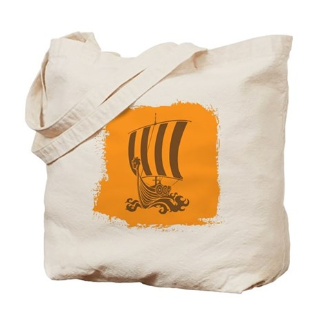 Orange and Brown Viking Design. Tote Bag
