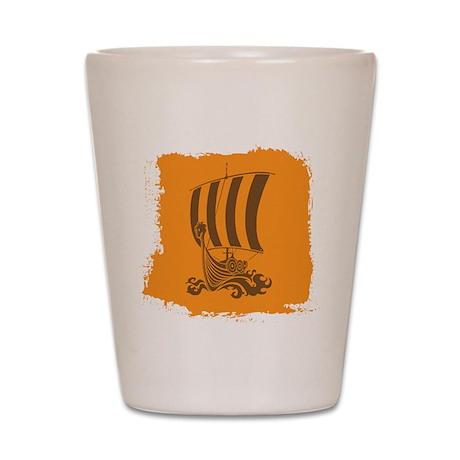 Orange and Brown Viking Design. Shot Glass