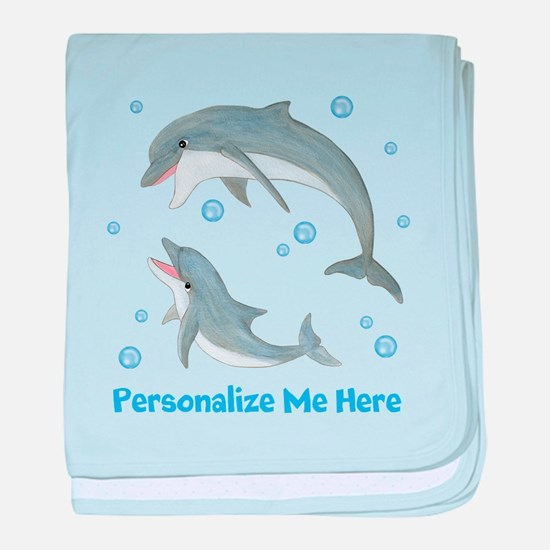 Personalized Dolphin baby blanket