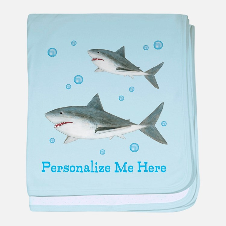 Personalized Shark baby blanket