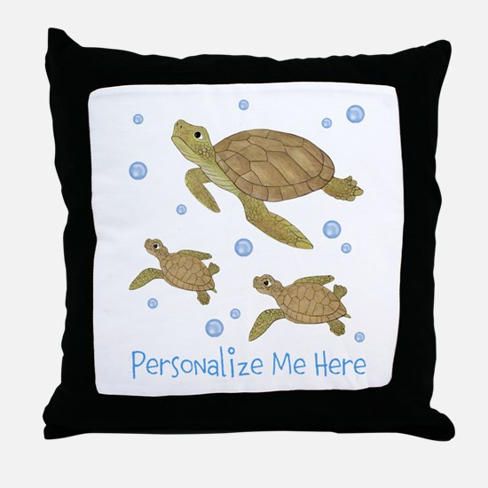 Personalized Sea Turtles Throw Pillow