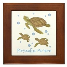 Personalized Sea Turtles Framed Tile
