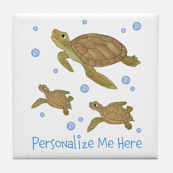 Personalized Sea Turtles Tile Coaster