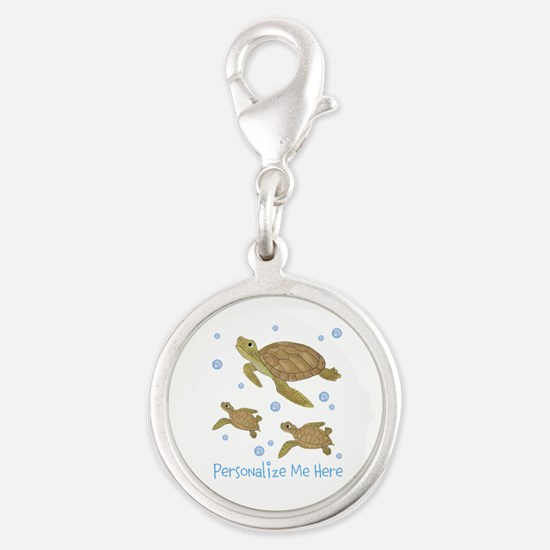 Personalized Sea Turtles Silver Round Charm