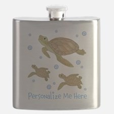 Personalized Sea Turtles Flask