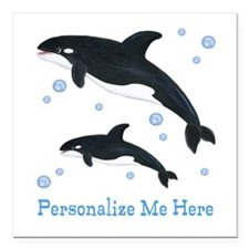 """Personalized Killer Whale Square Car Magnet 3"""" x 3"""