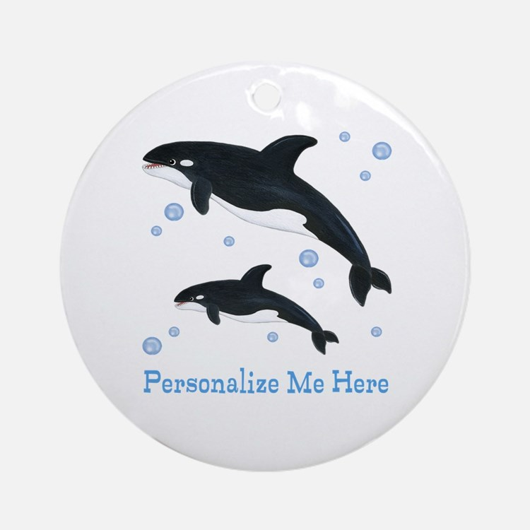 Personalized Killer Whale Ornament (Round)