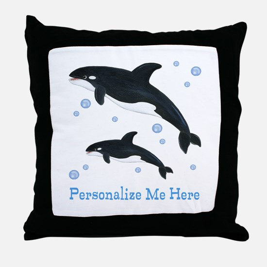 Personalized Killer Whale Throw Pillow
