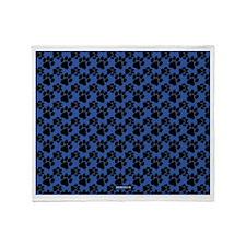 Dog Paws Royal Blue Throw Blanket