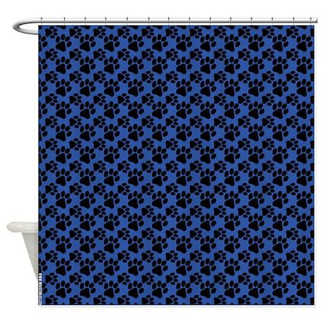 Dog Paws Royal Blue Shower Curtain