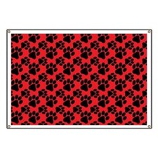 Dog Paws Red Banner