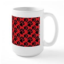 Cute Dog Paw Red Black Mug