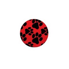 Dog Paws Red Mini Button (10 pack)