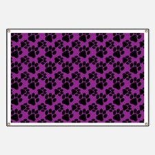 Dog Paws Purple Banner
