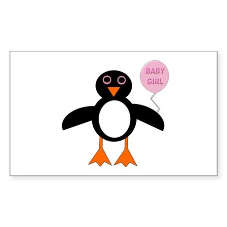 Cute New Baby Girl Penguin Sticker