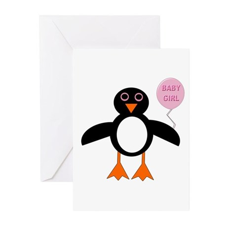 Cute New Baby Girl Penguin Greeting Cards (Pk of 1