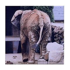 Art Tile Coaster - Elephant's Butt