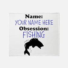 Custom Fishing Obsession Throw Blanket