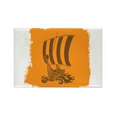 Orange and Brown Viking Design. Rectangle Magnet (