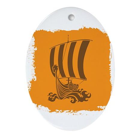 Orange and Brown Viking Design. Ornament (Oval)