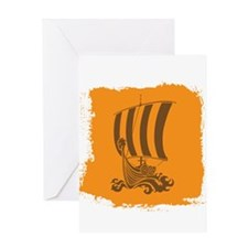Orange and Brown Viking Design. Greeting Card