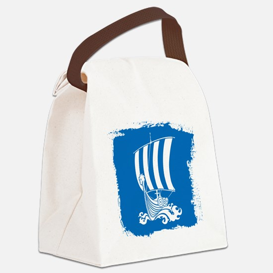 Viking Ship on Blue. Canvas Lunch Bag