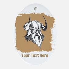 Viking with Helmet. Custom Text. Ornament (Oval)