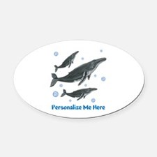 Personalized Humpback Whale Oval Car Magnet