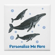 Personalized Humpback Whale Tile Coaster