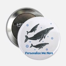 "Personalized Humpback Whale 2.25"" Button"