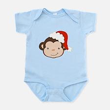 Cute Monkey With Santa Hat Body Suit