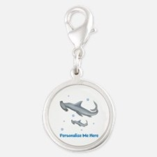Personalized Hammerhead Shark Silver Round Charm