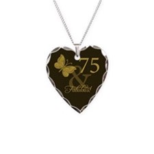 75th Birthday Butterfly Necklace Heart Charm