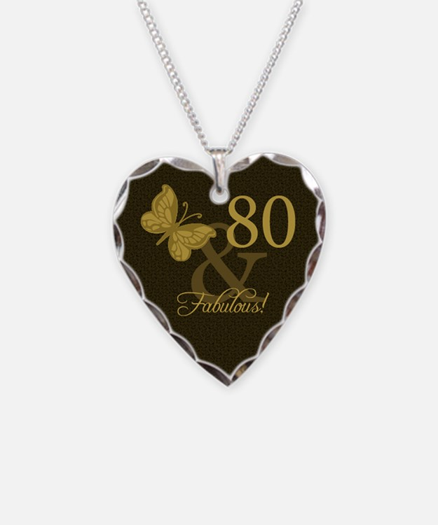 80th Birthday Butterfly Necklace