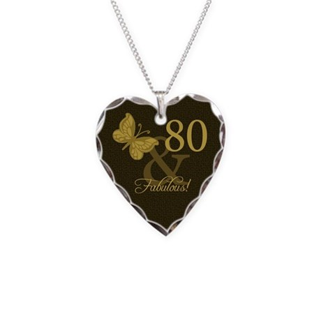 80th Birthday Butterfly Necklace Heart Charm