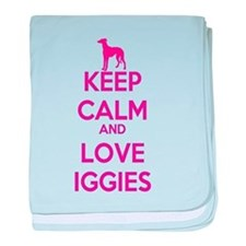 Keep Calm and Love Iggies (Pink) baby blanket