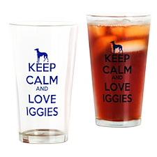 Keep Calm and Love Iggies (blue) Drinking Glass