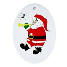 Santa Plays Trumpet Oval Ornament
