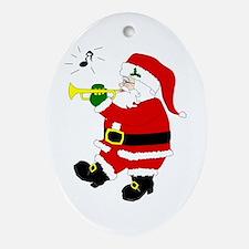 Santa Plays Trumpet Oval Ornament