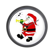 Santa Plays Trumpet Wall Clock
