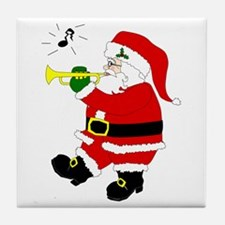 Santa Plays Trumpet Tile Coaster