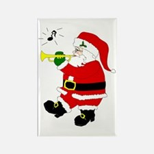 Santa Plays Trumpet Rectangle Magnet