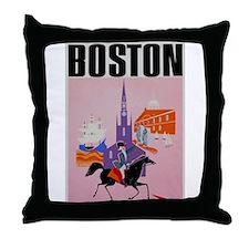 Vintage Boston MA Travel Throw Pillow