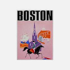 Vintage Boston MA Travel 5'x7'Area Rug