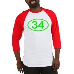 Number 34 Oval Baseball Jersey